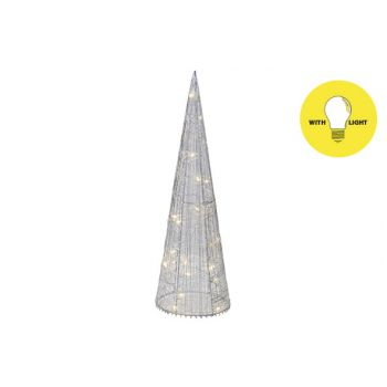 Cosy @ Home Pyramide Silk 20led Ww Silber D13xh40cm