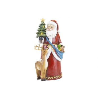 Cosy @ Home Santa With Light Rot 14x10xh26cm Polyres