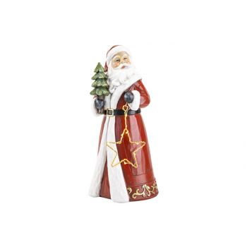 Cosy @ Home Santa With Light Rot 15x14xh31cm Polyres
