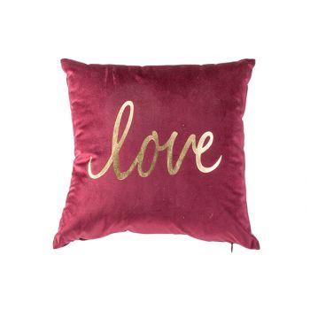 Cosy @ Home Kissen Love Bordeaux 39x39xh15cm Polyres