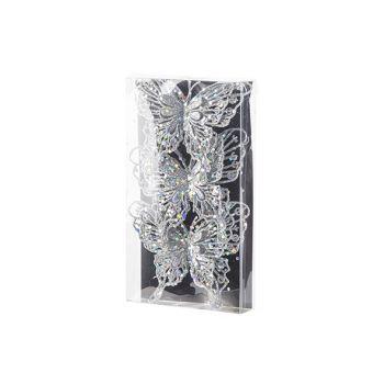 Cosy @ Home Clip Schmetterling Set3 Glitter Silber 1