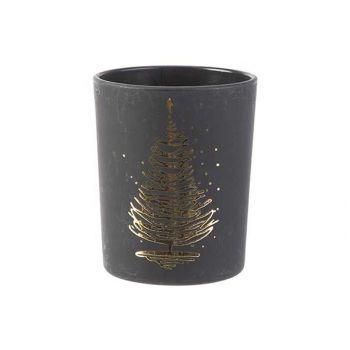 Cosy @ Home Teelichthalter Xmas Tree Gold Schwarz 5,