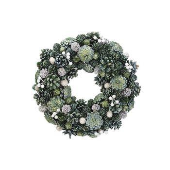 Cosy @ Home Weihnachtskranz Glitter Pin Cone Grun 34