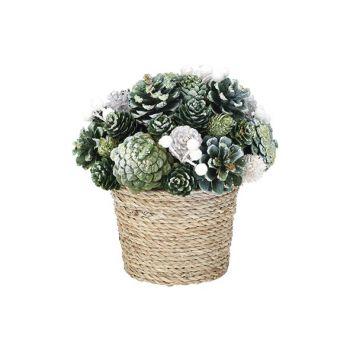 Cosy @ Home Weihnachtsarrangement Flower Pot  Glitte