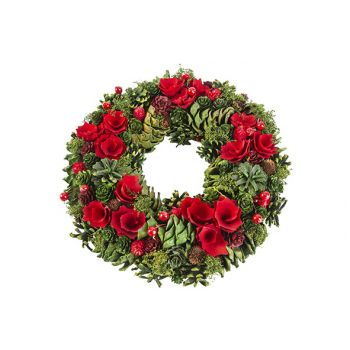 Cosy @ Home Weihnachtskranz Rot Grun 34x34xh8,5cm