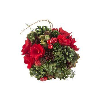 Cosy @ Home Ball Aufhanger Flower Pine Cone Rot Grun