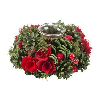 Cosy @ Home Weihnachtsarrangement 1 Glass Rot Grun 1