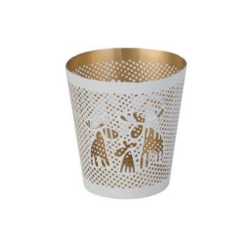 Cosy @ Home Teelichthalter Gold Elk Weiss 8,5x8,5xh9