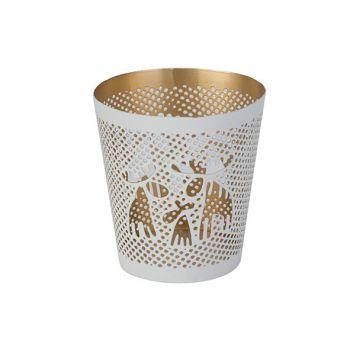 Cosy @ Home Teelichthalter Gold Elk Weiss 8x8xh8cm R