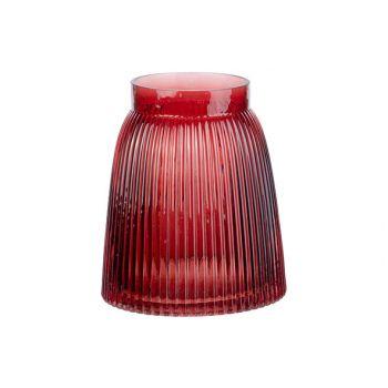 Cosy @ Home Vase Mona Rot 14x14xh16cm Rund Glas