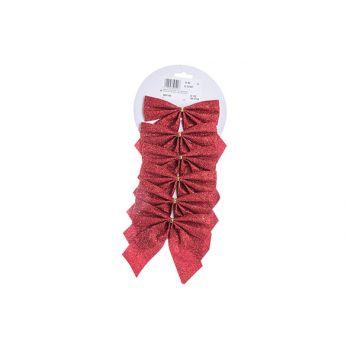Cosy @ Home Schleifen Set6  Glit Rot 11x11cm
