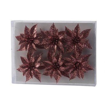 Cosy @ Home Weihnachtsrose Set6 Glitter Rosa D8cm Ku