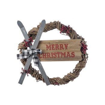 Cosy @ Home Kranz Skis - Merry Christmas Mehrfarbig