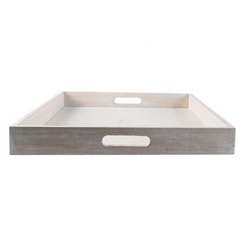 Cosy @ Home Tablett Beige 40x40xh5cm Holz