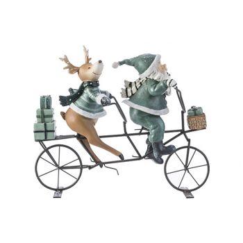 Cosy @ Home Weihnachtsmann Fahrrad Deer Grau-grun 24