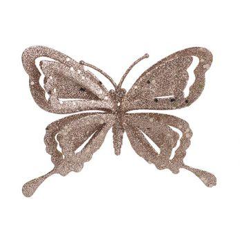 Cosy @ Home Clip Schmetterling Glitter Rosa 14x2xh10