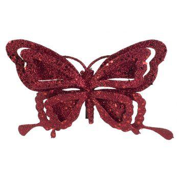 Cosy @ Home Clip Schmetterling Glitter Rot 14x2xh10c