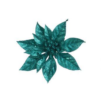 Cosy @ Home Weihnachtsstern Klammer Glitter Turkis D