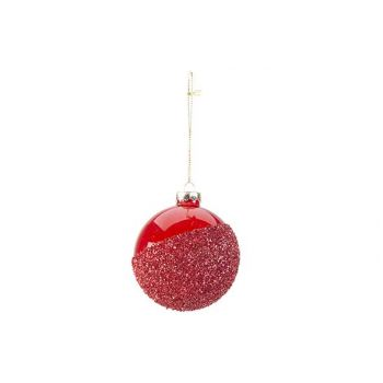 Cosy @ Home Weihnachtskugel Effect Rot 8x8xh8cm Glas