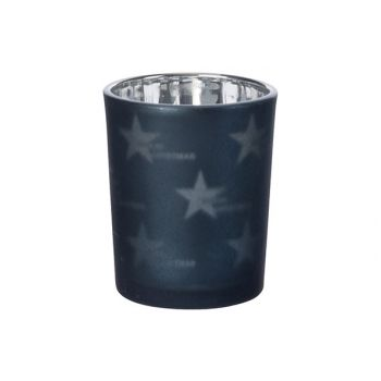 Cosy @ Home Teelichtglas Stars Nachtblau D6xh7cm Gla