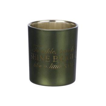 Cosy @ Home Teelichtglas Shine Bright Grun D9xh10cm