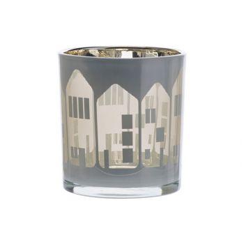 Cosy @ Home Teelichthalter Houses Weiss 7,3x7,3xh8cm
