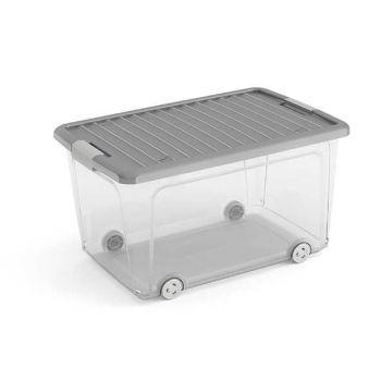 Curver W-box Aufbewahrbox L Grau Deckel 56.5x39