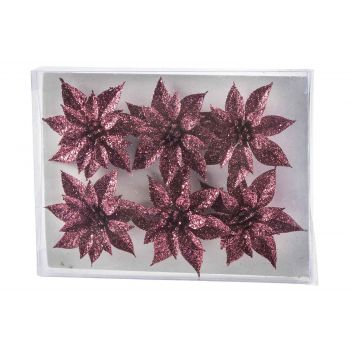 Cosy @ Home Weihnachtsrose Set6 Glitter Himbeere D8