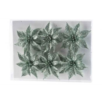 Cosy @ Home Weihnachtsrose Set6 Glitter Mint D8 Cm