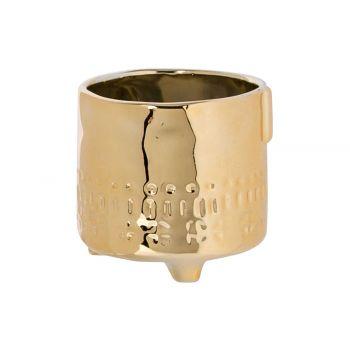 Cosy @ Home Blumentopf Face Gold 8,2x8,2xh8,2cm Stei