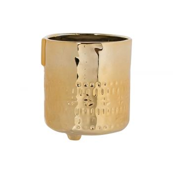 Cosy @ Home Blumentopf Face Gold 9,5x9,5xh10,8cm Ste