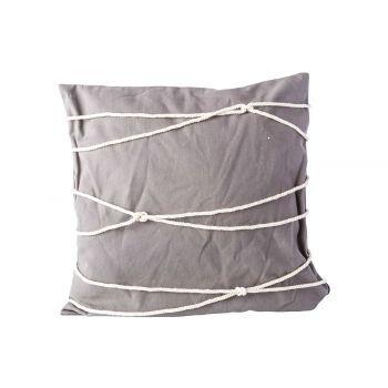 Cosy @ Home Kissen Rope Grau 45x45xh10cm Baumwolle