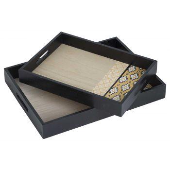Cosy @ Home Tablett Set2 Indian Schwarz 30x40xh5cm H
