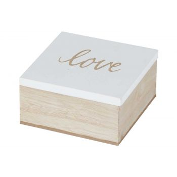 Cosy @ Home Dose Love White Natural 10x10xh5cm Holz