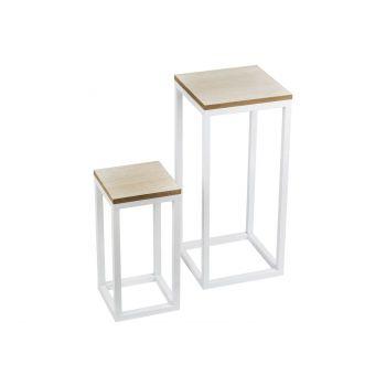 Cosy @ Home Tisch Set2 Weiss Quadratisch Metall 29x2