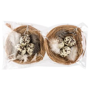 Cosy @ Home Nest Set2 With Eggs Natural D8cm