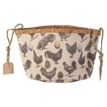 Cosy @ Home Korb Chickens Cream D20xh16cm Textil