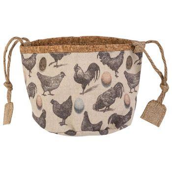 Cosy @ Home Korb Chickens Cream D16xh14cm Textil