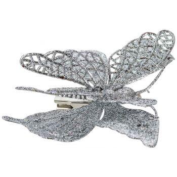 Cosy @ Home Schmetterling Clip Silver 15cm