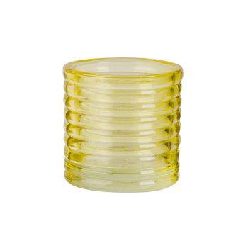 Cosy @ Home Teelichthalter Fluo Gelb D6xh6cm Glas