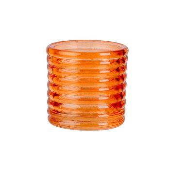 Cosy @ Home Teelichthalter Fluo Orange D6xh6cm Glas