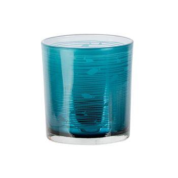 Cosy @ Home Teelichthalter Fish Blau D7xh8cm Glas