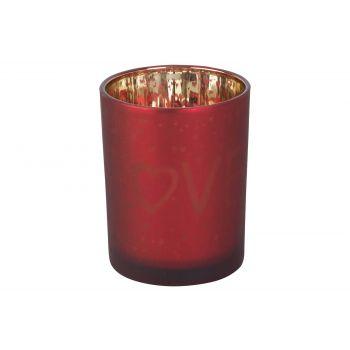 Cosy @ Home Teelichthalter Love Gold Rot D10xh12cm G