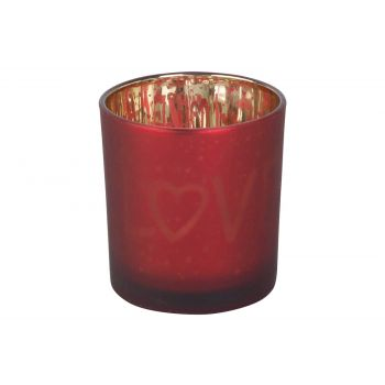 Cosy @ Home Teelichthalter Love Gold Rot D7xh8cm Gla