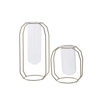 Cosy @ Home Vase Metal Frame Glass Tube D6 H12 Cm Go