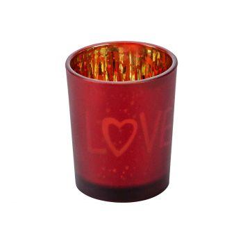 Cosy @ Home Teelichthalter Love Gold Rot D5,5xh7cm G