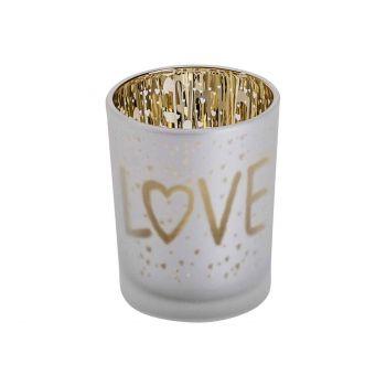 Cosy @ Home Teelichthalter Love Gold Weiss D5,5xh7cm