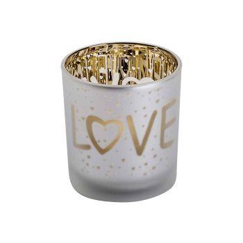 Cosy @ Home Teelichthalter Love Gold Weiss D7xh8cm G