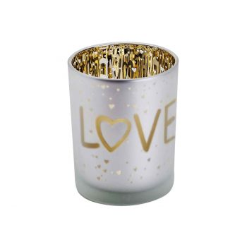 Cosy @ Home Teelichthalter Love Gold Weiss D10xh12cm