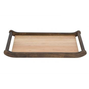 Cosy & Trendy Rectangular Wooden Tray With 2 Round Ant